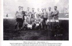 L'azzurro della Nazionale con i calciatori della Pro Vercelli