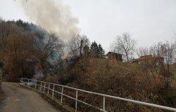Incendio dalla cenere di una stufa a legna  gettata tra le sterpaglie
