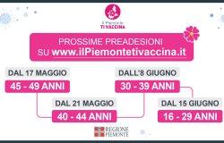 Piemonte: dal 17 maggio via alla preadesione degli over 40