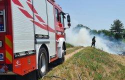 Quinto: incendio di sterpaglie in un'area boschiva