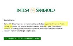 """Polizia postale: """"Attenti a quella falsa mail di Intesa San Paolo"""""""