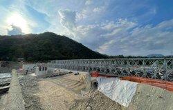 Ponte provvisorio: sopralluogo al cantiere del presidente della Provincia